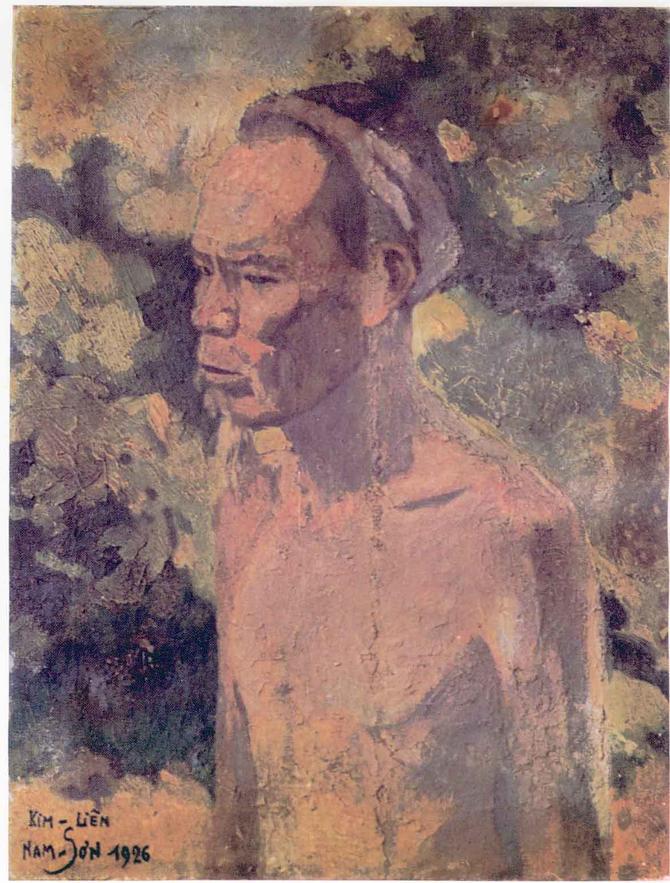 """VIEUX PAYSAN. HUILE SUR TOILE SIGNEE NAM-SON 1926 et à """" KIM LIÊN"""".  PHOTO C*.  DINH T. H."""