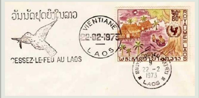 TIMBRE DU 22 FEVRIER 1973 FÊTANT LE CESSEZ-LE-FEU AU LAOS