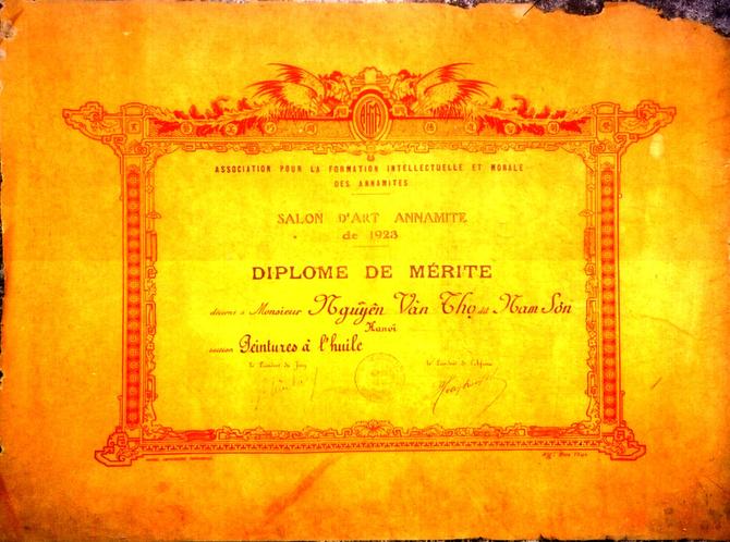 1923. DIPLÔME DE NAM SON. C* DINH T. H.