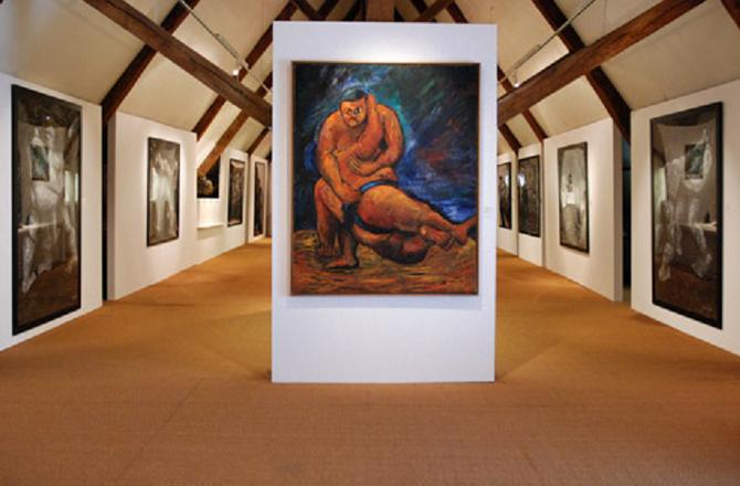 SUMOS,  LA PRISE 2003 . Huile 162x130 cm . Signé en bas à droite