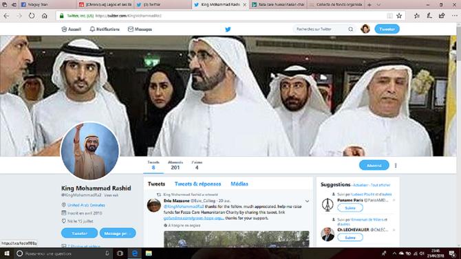 Capture d'écran du Samedi 21 Avril 2018. On me signale que le ROI Mohammad Rashid (sic) me suit et qu'il a retweeté les remerciements d'une certaine Evie Mazzone . Pour moi c'est un compte suspect avec le header de mauvaise qualité bricolé à la hâte.