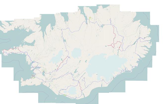 gefahrene route 2700 km. rote strecken konnten wegen vulkanausbruch, schlechten wetter oder schöneren alterantiven hochlandstrecken nicht gefahren werden