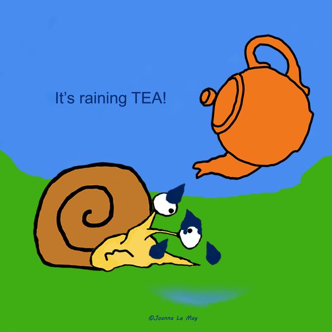 Une théière au dessous de JoJo l'escargot, qui t'apprend l'anglais.