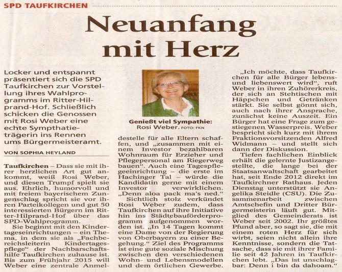 Auszug aus dem Münchner Merkur vom 23.01.2014