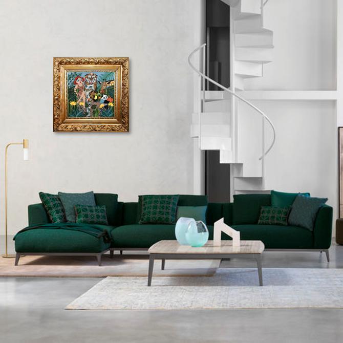 tableau naïf salon moderne cadre baroque