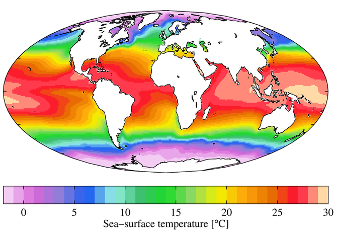 Annual average sea surface temperature, by Plumbago - Own work. Licensed under CC BY-SA 3.0 via Commons - https://commons.wikimedia.org/wiki/File:WOA09_sea-surf_TMP_AYool.png#/media/File:WOA09_sea-surf_TMP_AYool.png