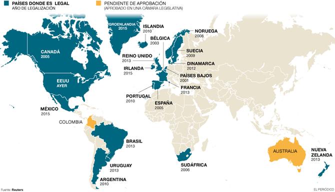 Países donde el matrimonio homosexual es legal (datos de junio de 2015)