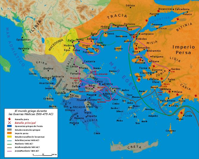 El mundo griego durante las Guerras Médicas (500-479 AC)