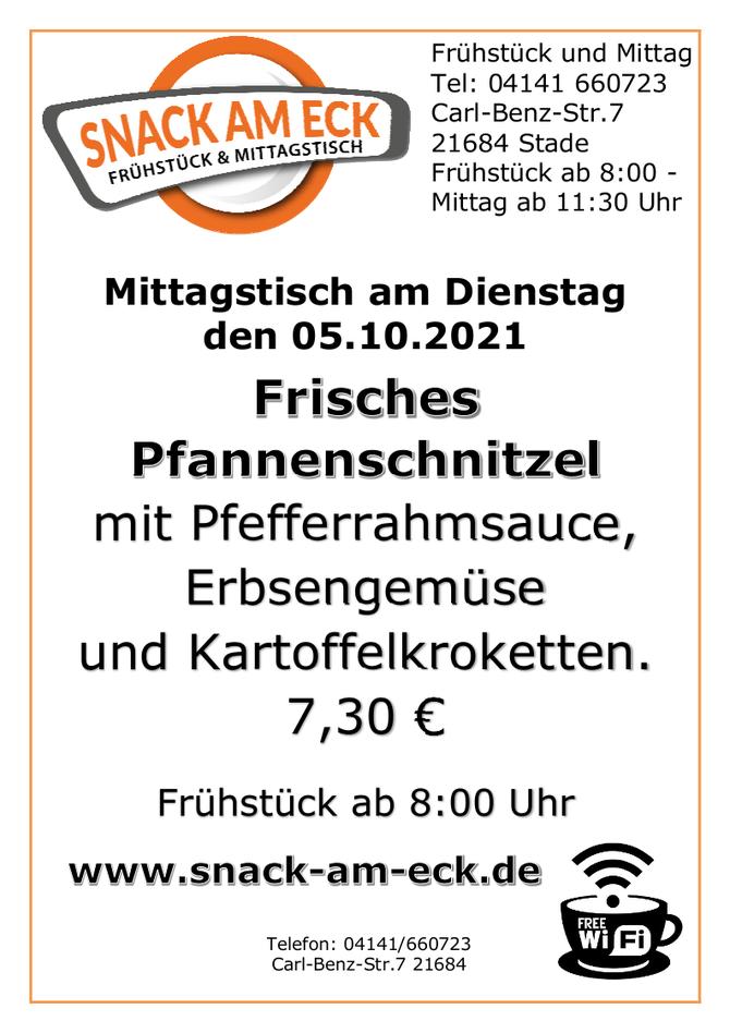 Mittagstisch am Dienstag den 05.10.2021: Frisches Pfannenschnitzel mit Pfefferrahmsauce Erbsengemüse und Kartoffelkroketten. 7,30 €