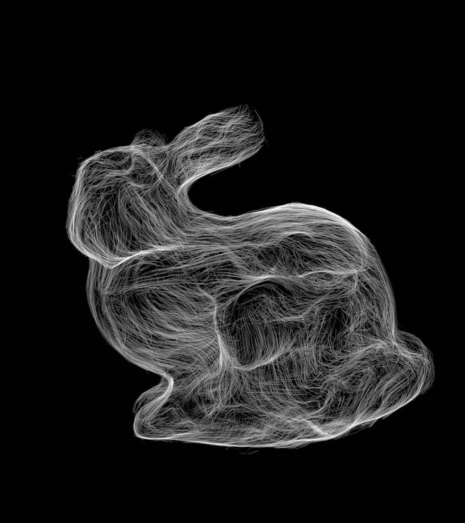 SubPixel size bunny-fur by MicroPoint (Area Sampling) 638Million MicroPoints are generated