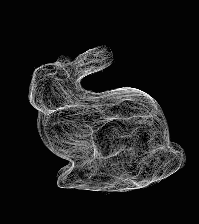 SubPixel size Bunny-fur by Cycles(Path tracing 4096 samples/pixel)