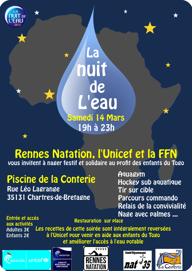 Samedi 14 mars la nuit de l 39 eau site du club rennes for Piscine de chartres de bretagne