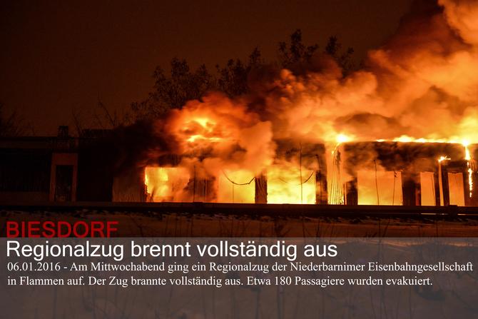 BIESDORF: Regionalzug brennt vollständig aus