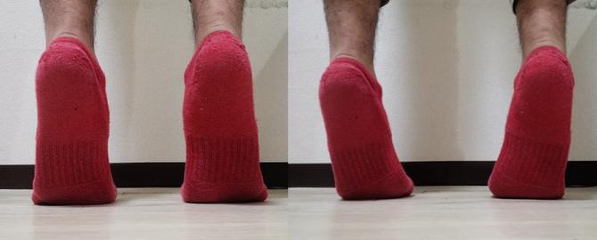 左が正常なつま先立ち、右が小趾荷重のつま先立ち