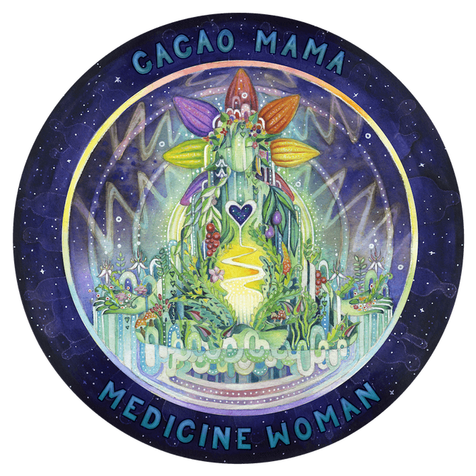 cacao mama medicine woman jungle fairy cosmic heart cacao crown illustration