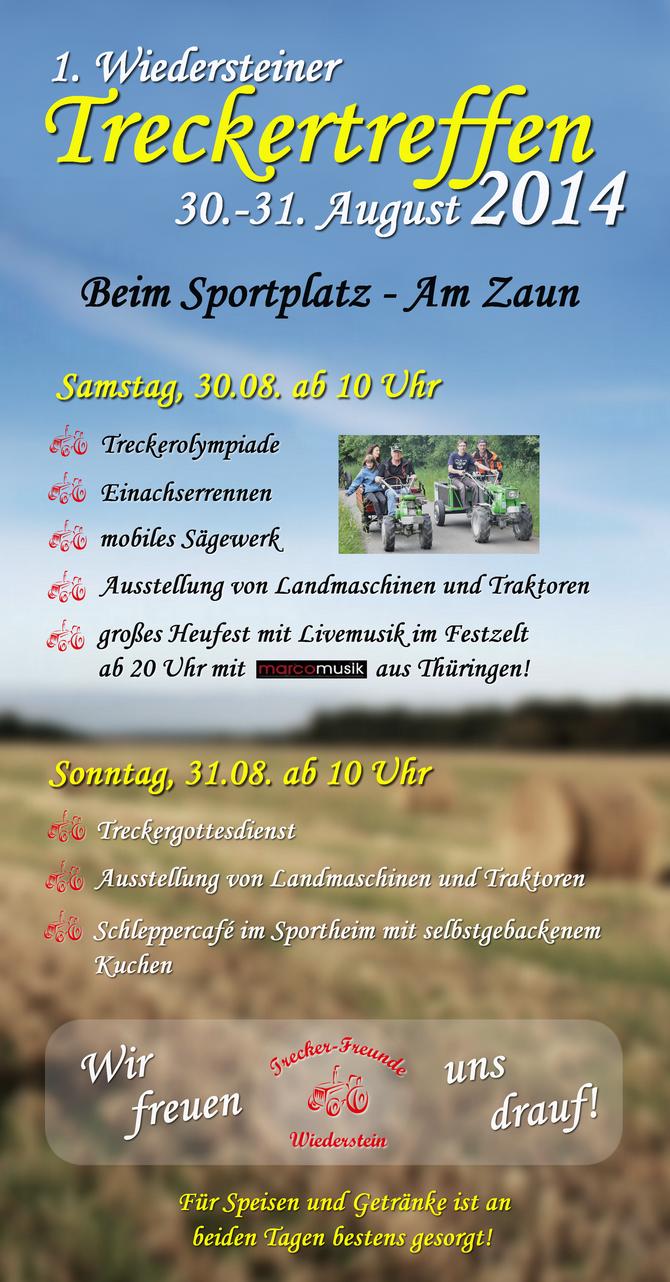 Flyer zum 1. Wiedersteiner Treckertreffen im Jahr 2014