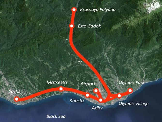 Carte du réseau ferroviaire de la région de Sochi. Document RZD