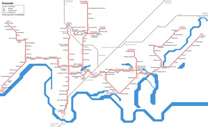 Plan du réseau des tramways de Krasnodar, fourni par le site internet www.urbanrail.net, où manque la nouvelle ligne 15 et figure toujours l'ancienne ligne 1.