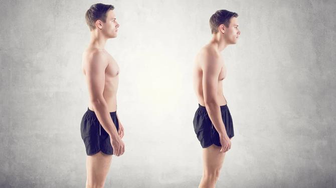 En una persona delgada y  con una postura deficiente ya aparece la barriga, imaginaos con sobrepeso