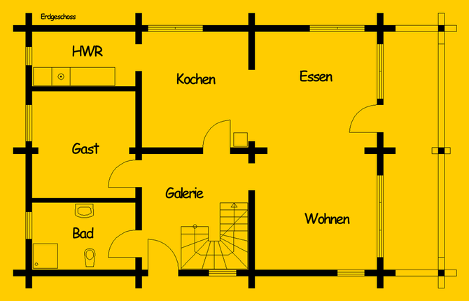 Blockhaus Lehnitz: Wohnfläche EG 79 m² - © Blockhaus-Profi