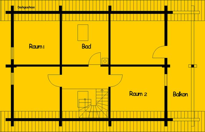 Blockhaus als Einfamilienhaus: Wohnfläche OG 65 m² - © Blockhaus-Profi