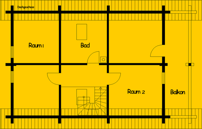 Blockhaus als Einfamilienhaus - Hamburg   : Wohnfläche OG 65 m² - © Blockhaus-Profi