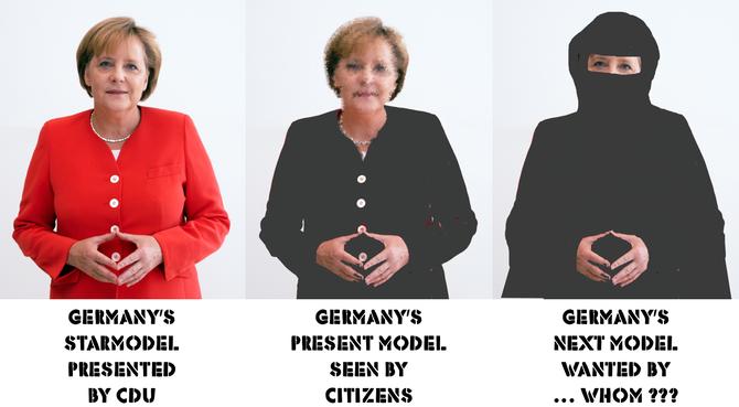 Ausgangsbild (rot): Wahlkampf 2013 der CDU, Photo Armin Linnartz (from: Wikipedia, ccCommon-Lizenz); Fotoretusche & Text: hgw