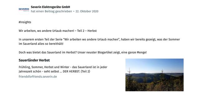 Ein Screenshot eines XING-Posts der Severin Elektrogeräte GmbH