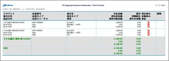 未消込支払伝票チェックリスト(SAMPLE)