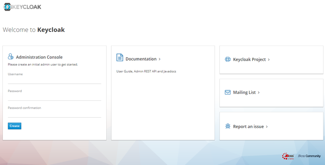 Keycloakのトップページ