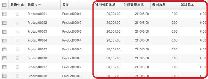 品目検索ウィンドウ(Product Info)の在庫数量表示