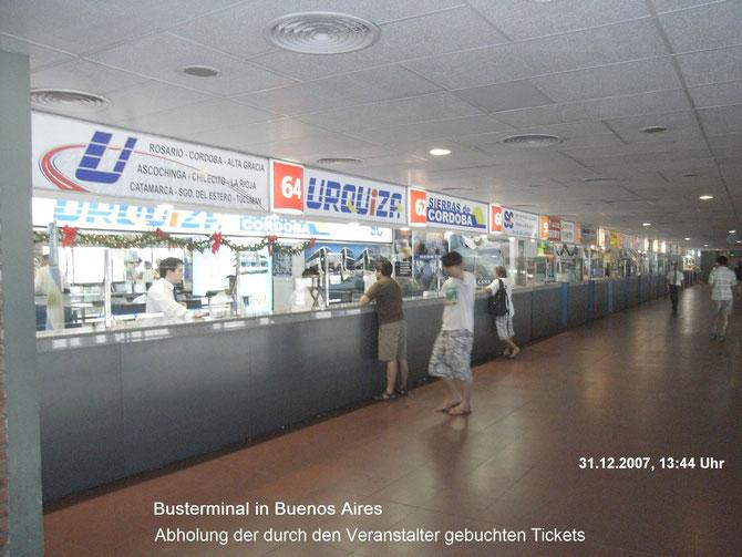 Busterminal in Buenos Aires, Erweb der Bustickets nach Mendoza