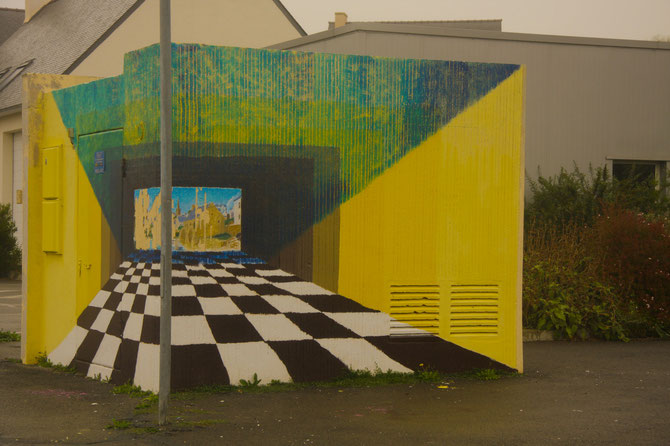 Wie aus einem hässlichen Betonblock fast ein Kunstwerk werden kann, Pont Croix, Crozon, Bretagne, 12.09.2013