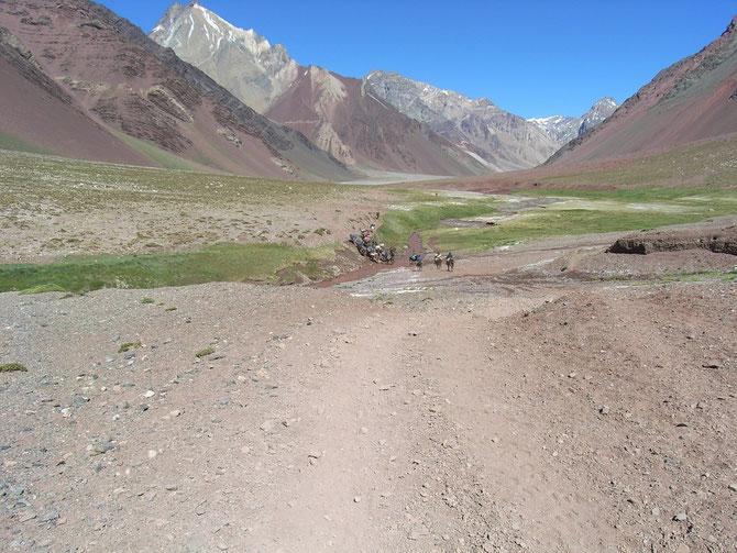 Der Weg vom Lager Confluencia zum Basislager Plaza de Mulas, Dauer etwa 8 bis 10 Stunden, 08.01.2008