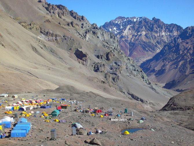 Übersicht über Plaza de Mulas mit Standort unseres Zeltes