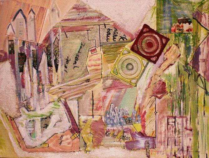 ©  Nathalie Arun: metamorphe Urbanität 3, Öl, Dispersion, Gouache, Kartonage, Baupläne auf Leinen, b 90 cm x h 1,20 m