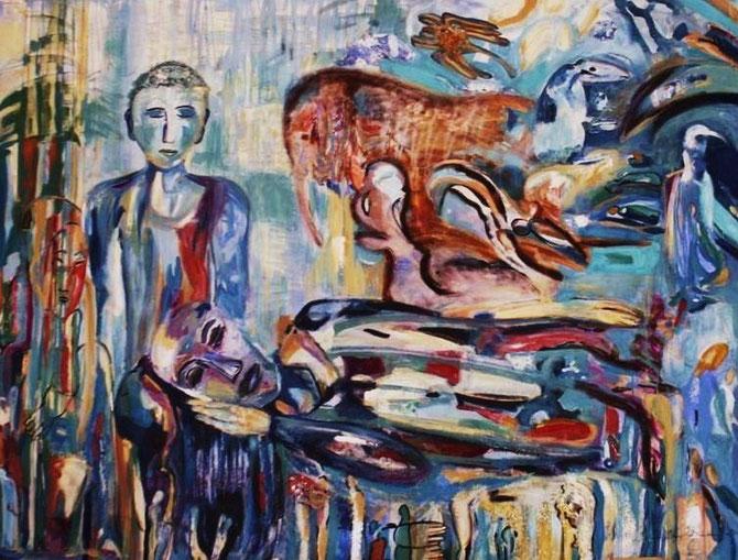 Spiegelwelten 2 ©  Nathalie Arun, Öl, Dispersion auf Leinwand, b 3 x h 2 m