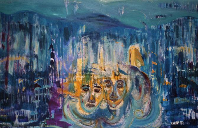 Spiegelwelten 1 ©  Nathalie Arun, Öl, Dispersion auf Leinwand, b 3 x h 2 m