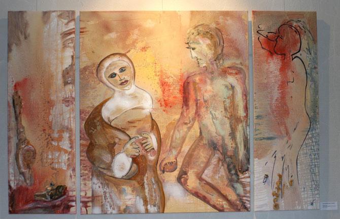 ©  Nathalie Arun: Liebesbeziehungen in Distanz, Öl, Dispersion, Airbrush, Stein, Holz auf Leinwand, Triptychon gesamt 3 x 1,80 m