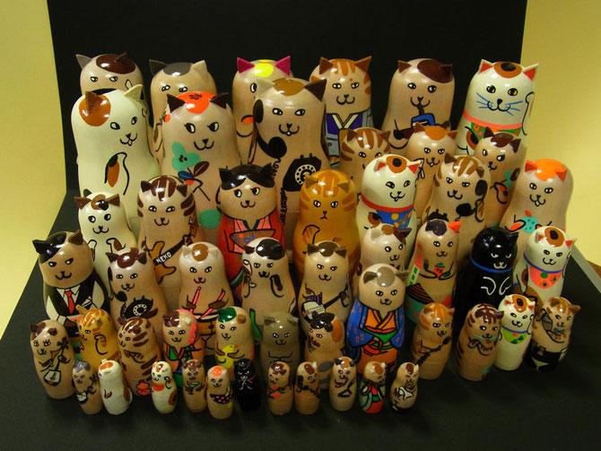 2014新宿伊勢丹ネコ展用に制作のネコリョーシカ集合
