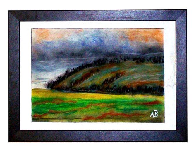 Hügellandschaft-Pastellgemälde-Graslandschaft-Wiese-Berge-Bäume-Hügel-Himmel-Wolken-Landschaftsbild-Pastellmalerei-Pastellbild