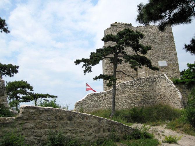 Burg Mödling, Blick vom äußeren Burghof auf den Turm im inneren Hof
