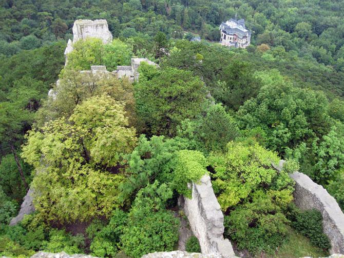 Burg Rauheneck, Blick vom Bergfried auf den inneren Burghof und Reste des Palas, Baden bei Wien