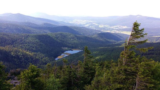 Bayerischer Wald, Blick vom Arbergipfel auf den Kleinen Arbersee