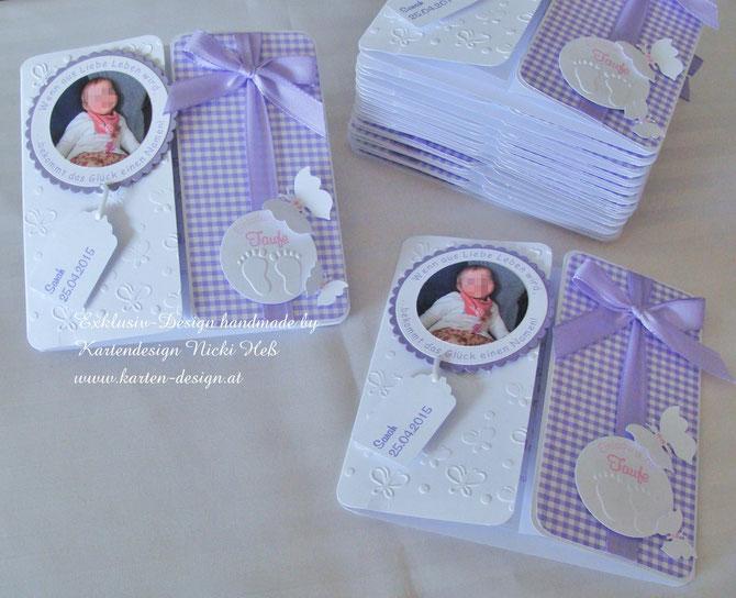 Taufeinladungen und Gastgeschenke zur Taufe von Kartendesign Nicki Heß, Einladungskarten zur Taufe im Kartenshop erhältlich, Gastgeschenke, Mandelsäckchen und Einladungen