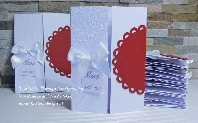 Hochzeit, Menükarten zur Hochzeit, Kartendesign, Kartenshop, Hess, Heß, Hochzeitseinladungen, handgefertigt