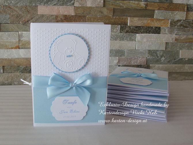 Taufkarten zur Taufe, Kartendesign Nicki Heß, Menükarten, Taufeinladungen, Kirchenhefte, im Kartenshop von Kartendesign Nicki Heß erhältlich