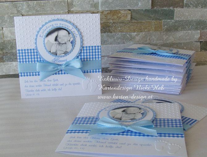 Blau karierte Einladungskarten zur Taufe bei Kartendesign Nicki Heß, Taufeinladungen erhältlich im Kartenshop, Taufe