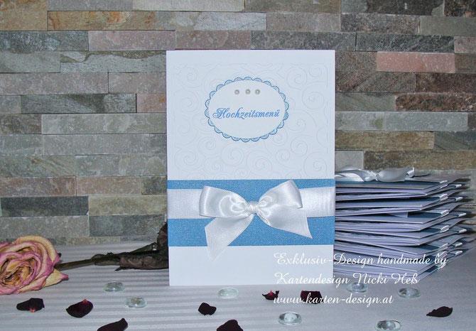 Menükarten zur Hochzeiten, Design White Dreams, Hochzeits-Menükarten erhältlich bei Kartendesign Nicki Heß, Kartenshop, Hochzeitsunikate
