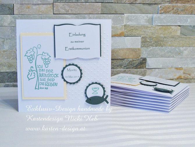 Kommunionskarten von Kartendesign Nicki Heß, Ich bin der Weinstock, Einladungskarten zur Kommunion bei Kartenshop von Nicki Heß erhältlich, Einladungen, Konfirmation, Firmung, Kommunion